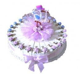 Baby Ooievaar Roze/Blauw Taart