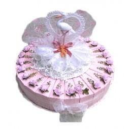 Baby Ooievaar Roze Taart