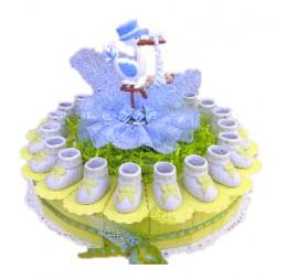 Baby Ooievaar Blauw met Schoentjes Taart