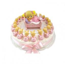 Baby Meisje Roze op Konijn Taart