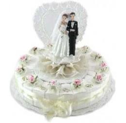 Bruidspaar met Roze Bloem Taart