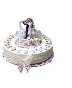 Bruidspaar me Witte Bloem Taart