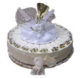 Gouden Ring met Bloem Champagne GlazenTaart