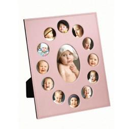 fotolijst 1e jaar baby roze 12 frames