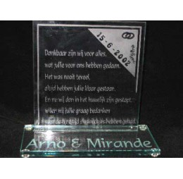 Glazen Tekstbord - Bedank Cadeau Getuigen