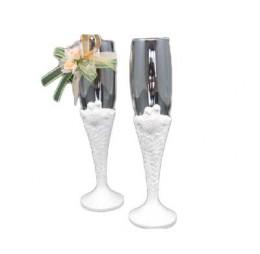 Chapagne Glazen met Witte Duiven