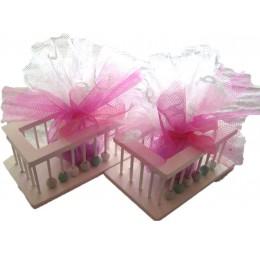 Bedankje Houten Box Wit - Roze
