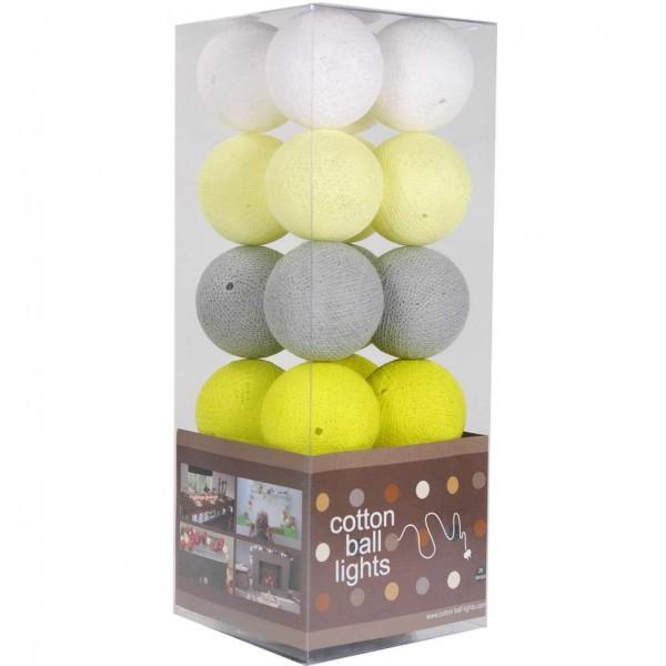 cotton balls lichtslinger geel wit grijs